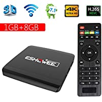 ESHOWEE Android 7.1 TV Box R1 Amlogic S905W Quad-core 64 Bit DDR3 1GB 8GB 4K UHD WiFi and LaN VP9 DLNA H.265