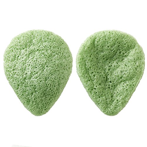 (Sinide Konjac Facial Beauty Sponge 2 Pack Activated Bamboo Charcoal for Face Exfoliating, Acne Removal, Deep Cleansing 100% Pure Natural Puff Sponges (Green))