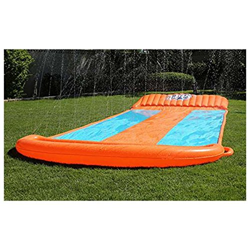 Inflatable Triple Water Slide Outdoor Kids Play Backyard Pool Big Splash Spit (Backyard Waterslide)