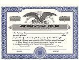 Custom Printed Corporate Stock Certificates, HUBCO, Blue, 20-Pack
