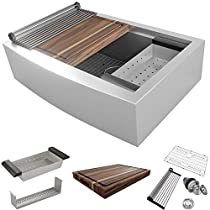 MOWA CW60210 33-inch Apron-front Low Ledge Workstation Farmhouse Kitchen Sink 16 Gauge Stainless Steel Workstation Sink Deep Single Ledge Single Bowl (Pack of 7 W/ 17.5 Acacia Butcher