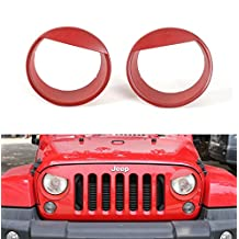 [Upgrade Clip-in Version] Opar Red Angry Bird Headlight Cover Bezels for 2007-2017 Jeep JK Wrangler & Unlimited - Pair