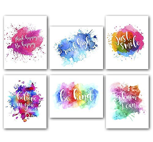 Abstract Watercolor Art Print Set of 6 (8 X10 Inches) Modern Printing, Inspirational Wall Art, Motivational Wall Art Poster for Office and Classroom (Wall Art Sets Inspirational)