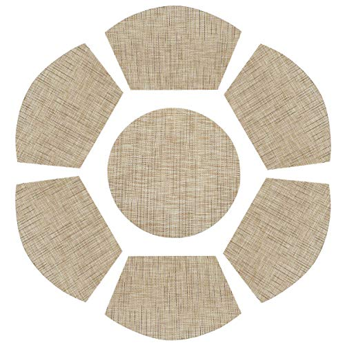 REMEE Placemats for Round Table,6pcs Wedge Kitchen Table Mats with 1 Round Center Piece,70% PVC 30% Polyester Placemat,Heat Resistant Washable (7, Cream) ()