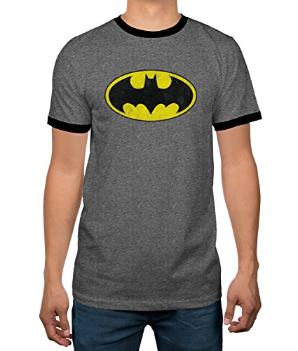 DC Comics Batman Heather Grey Ringer Mens T-shirt (X-Large) - Batman Ringer T-shirt