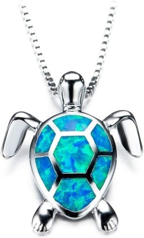 Beiswe Cute Turtle Pendant Necklace Lovely Animals White Fire Opal 925 Sterling...