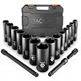 TACKLIFE 1/2-Inch Drive Master Deep Impact Socket Set,17 PCS,Inch, CR-V, 6 Point, 3/8-1-1/4 inch, with 3 Extensions - HIS2A