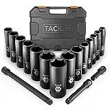 Impact Socket Set, Tacklife 3/8-Inch and 1/2-Inch Drive Deep Socket Set, Cr-V, 6 Point, 3/8-1-1/4 inch Socket, 17 PCS | HIS2A