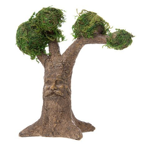 Enchanted Decor Forest (Darice Fairy Garden Tree with Carved Face and Moss-Covered Treetops)