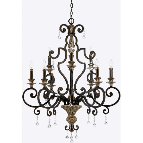 Quoizel MQ5009HL Marquette Wrought Iron Crystal Foyer Chandelier, 9-Light, 540 Watts, Heirloom (41