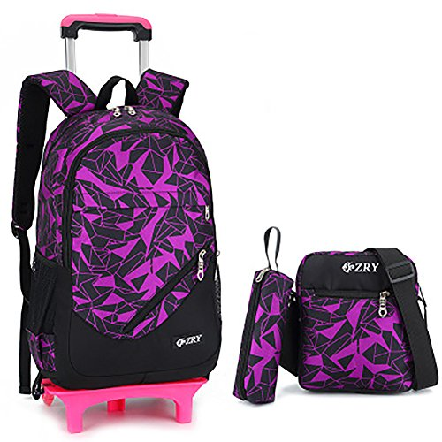 Meetbelify 3Pcs Rolling Backpack Boys Girls Trolley School Bags with Lunch Bag&Pencil Case,2 Wheels,Purple