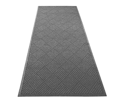 Guardian EcoGuard Diamond Indoor Wiper Floor Mat, Recycled Plactic and Rubber, 3'x10', Charcoal Black