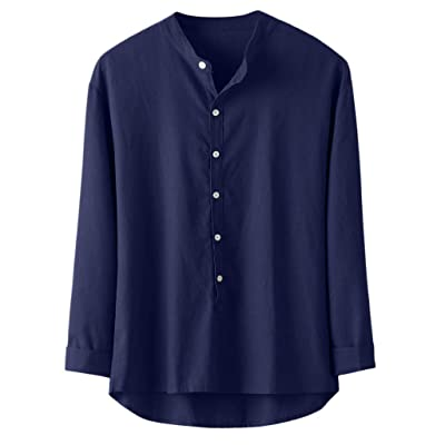 Eoeth Big Sale! Mens Solid Button Down Shirt, Casual Linen and Cotton Long Sleeve Top Lightweight Baggy Retro Blouse: Clothing