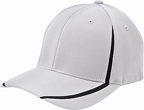 Sport-Tek STC16 Flexfit Performance Colorblock Cap - White/Black - S/M ()