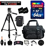 64GB Accessory Kit for Canon EOS 80D, 70D, EOS Rebel T6i, T6S, T5i, T5, T4i, T3i, T3, EOS 760D, 750D, 8000D, 700D 650D Includes 64GB High-Speed Memory Card + Large Camera Case + 72' inch Tripod + MORE
