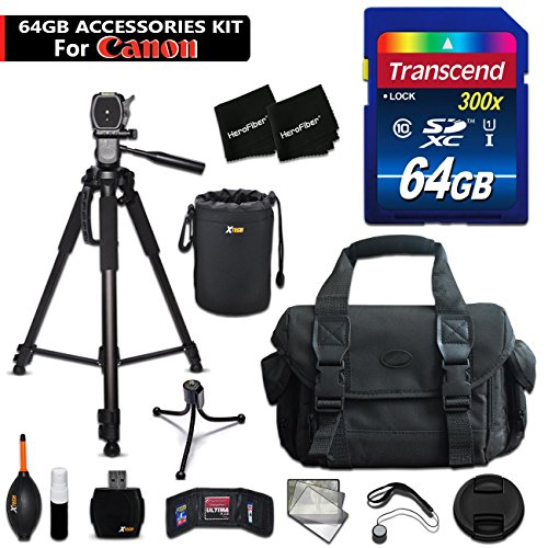 64GB Accessory Kit for Canon EOS 80D, 70D, EOS Rebel T6i, T6S, T5i, T5, T4i, T3i, T3, EOS 760D, 750D, 8000D, 700D 650D Includes 64GB High-Speed Memory Card + Large Camera Case + 72' inch Tripod + MORE by HeroFiber