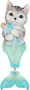 Seefun Outdoor Mermaid Statues Garden Sitting Cat Figurine Nautical Fairy Animal Decorations for Patio Bedroom