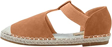 Sandalias para Mujer Verano 2019 Planas PAOLIAN Alpargatas Esparto Playa Casual Fiesta Zapatos Vestir Elegantes Retro con Correa de Tobillo Tallas Grandes