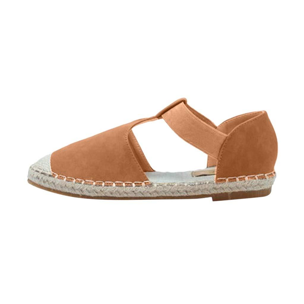 Caopixx Flat Sandals for Women Ladies Fashion Retro Low Round Toe Casual Shoes Summer Beach Sandals Brown by Caopixx Shoes