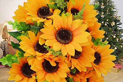 Artificial Sunflower Bouquet – Pistha Artificial Flowers Bouquet for Home, Shop Decor, Wedding Using or Film Shooting, 12 Flowers Per Bunch, 2 Bunches Per Pack