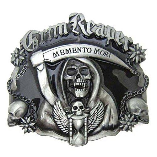 Grim Reaper Skull Ghost Vintage Gothic Punk Ghost Head Skull Men Leather Belt Buckle Lot Metal