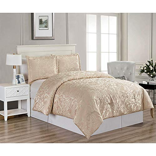 - Modern-Depo Hestia Down Alternative Comforter Sham 3PC Set Light Gold King Size Polyester