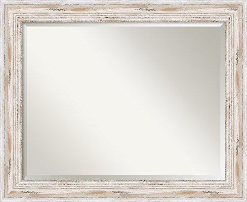 Wall Mirror Large, Alexandria White Wash Wood: Outer Size 33 x 27""