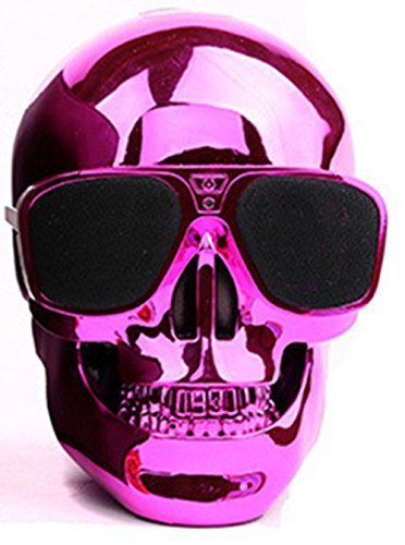 Super Cool Skull Shape Wireless Bluetooth Speaker Pink Sunglasses NFC Portable Subwoofer Support 3.5mm Audio - Boxes Sunglasses Shipping