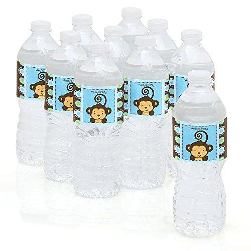 Custom Monkey Boy - Personalized Party Water Bottle Sticker Labels - Set of 10