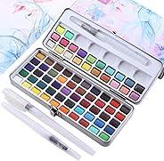 angwang Conjunto de 72 cores de tinta aquarela sólida com kit de 3 pincéis de tinta, caixa de metal portátil,
