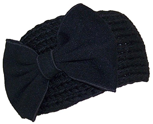 Best Winter Hats Womens Knit Headband W/Large Bow (One Size) - Black