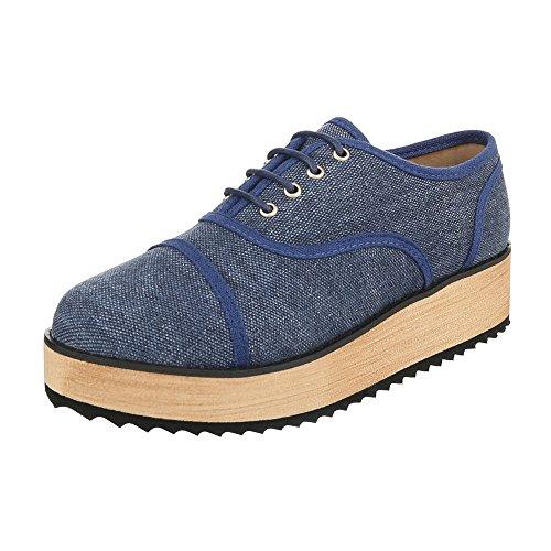Ital-Design - Zapatos Planos con Cordones Mujer Azul