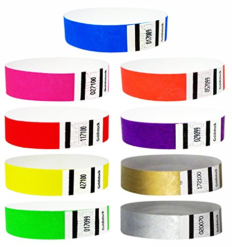 Goldistock 3/4' Tyvek Wristbands Super Variety Pack 450 Ct. (50 Each): Green, Blue, Red, Orange, Yellow, Pink, Purple, Gold & Silver - 9 Most Popular Colors
