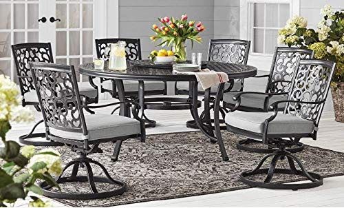 More Sweet Deals Outdoor Dining Set 8 Piece Cast Aluminum Scrollwork Six Swivel Chairs and Lazy Susan - Granite Gray