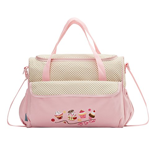 SoHo Diaper Bag Pink Cup Cake 10 Pieces Set Nappy Tote Bag L