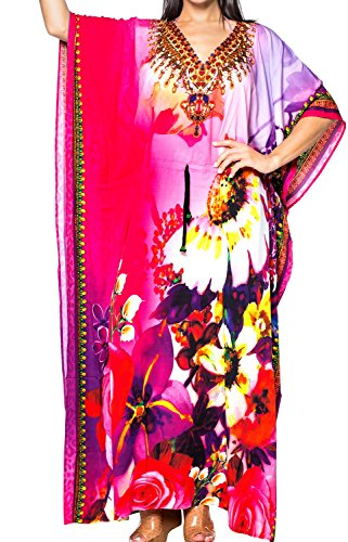 LA LEELA Soft  Digital Hawaiian Long Swimsuit  Caftan Multi 192 One Size