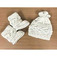 Conjunto de botitas y gorrito para bebé tejido a mano para lluvia o temporada de frío