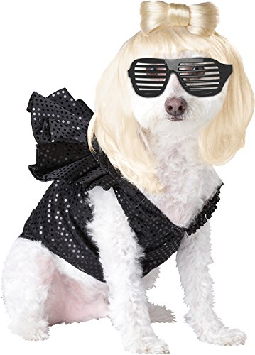 Pop Sensation Dog Costumes (UHC Pop Sensation Rock Star Fancy Dress Puppy Halloween Pet Dog Costume, L)