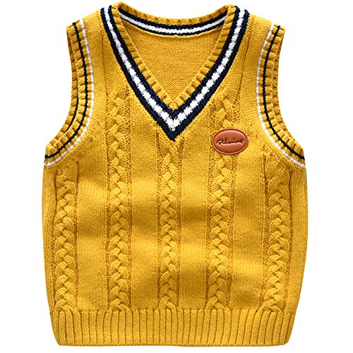Happy childhood Baby Toddler Boys Solid Color V Neck Sweater Vest Sleeveless Pullover Knitted Waistcoat Yellow 130