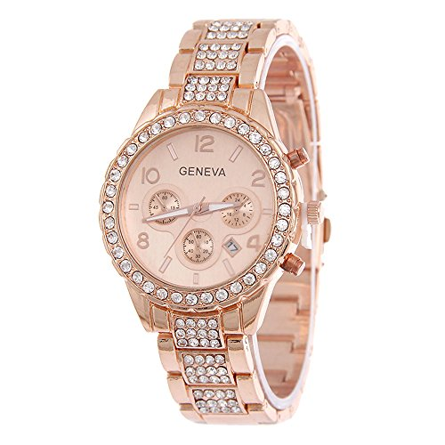 Happy Hours - Super Luxury Geneva Unisex Crystal Quartz Calendar Stainless Steel Wrist Watch(Rose (Geneva Gold Bracelets)