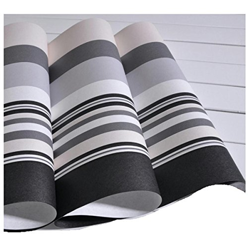 Black And White Gray Vertical Striped Wallpaper Non-Woven Living Room Bedroom Murals Tv Wall Wallpapers Horizontal Stripes Hotel Cafe Stickers Width 0.53M Length 10M (Striped Red Wallpaper)