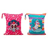 ALVABABY 2pcs Cloth Diaper Wet Dry Bags Waterproof Reusable with Two Zippered Pockets Travel Beach Pool Daycare Soiled Baby Items Yoga Gym Bag for Swimsuits or Wet Clothes LX-AMD1415