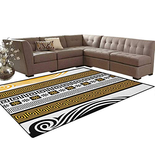 - Neoclassical Borders Collection Meander Pattern and Flowers with Waves Floor Mat Rug Indoor/Front Door/Kitchen and Living Room/Bedroom Mats Rubber Non Slip