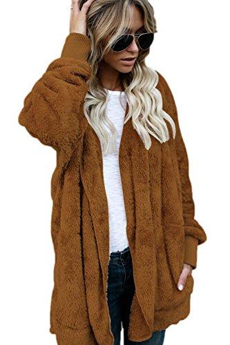 Jacket Cardigan Open Fleece Hooded Women Outercoat Tops Casual Front Zilcremo Furry Jackets Brown Warm zSqPwwU