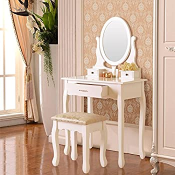 Elegance Vanity Makeup Table Set with Stool u0026 3 Drawers Oval Mirror White & Amazon.com: GTM Vanity Table Set Makeup Desk with Stool and Oval ...