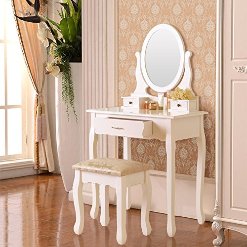 Elegance Vanity Table Set Makeup Desk with Stool & 3 Drawers, Oval Mirror ,White (Vanity And Desk)