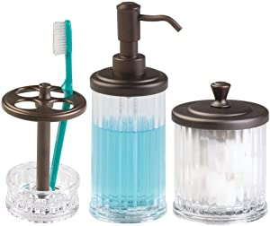 mDesign Bathroom Accessory Set, Soap Dispenser Pump, Toothbrush Holder Stand, Vanity Canister Jar with Lid - Set of 3, Clear/Bronze