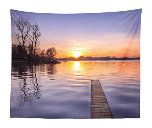 Lunarable Nature Tapestry King Size, Exquisite Horizon Sky at Sunrise on The Lake Pier Idyllic Tranquil Landscape, Wall Hanging Bedspread Bed Cover Wall Decor, 104