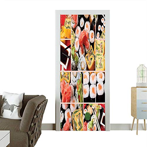 Homesonne Waterproof Decoration Door DecalsAsian Sushi Fish Raw Meat Rolls South East Fast Food Ceremony Artwork Multicolor Perfect ornamentW38.5 x H77 INCH