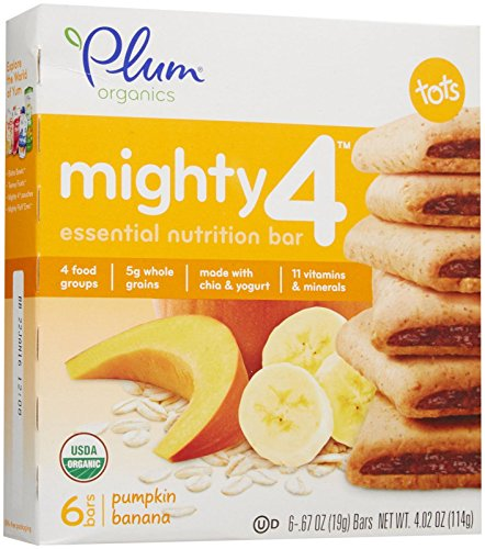 Plum Organics Tots Mighty 4 Bars-Pumpkin Banana-4.02 Ounces-8 Pack
